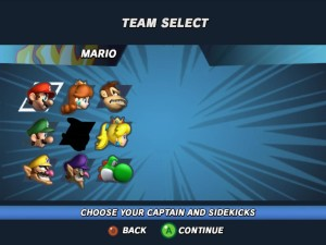 super mario strikers team select