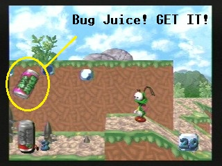 Bug Juice will replenish Bug's health meter.