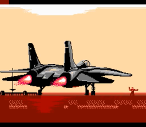 An F-14 Tomcat just ignited it's engines. The opening shot of the game.