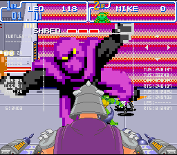 You can throw baddies at the screen in a cool display of mode 7 effects