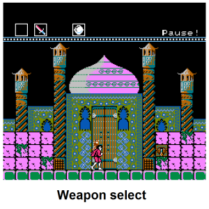 Dagger.Boomarang.Iceball Weapon Select