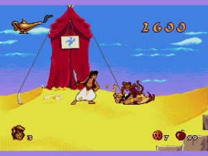Aladdin looks on in curiosity as Abu murders an employee of the state.  Also, that outhouse.