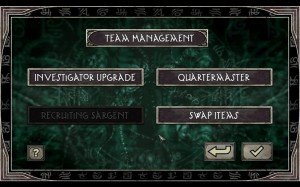Call of Cthulhu Team Management Menu