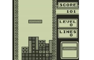 Screenshot from the original Tetris on the Game Boy