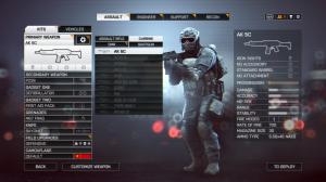 The Loadout customization menu, before spawning.