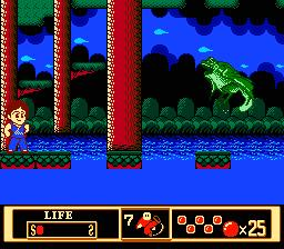 One of the game's power-up granting frogs ends up turning into a flying boss and goes for your throat.