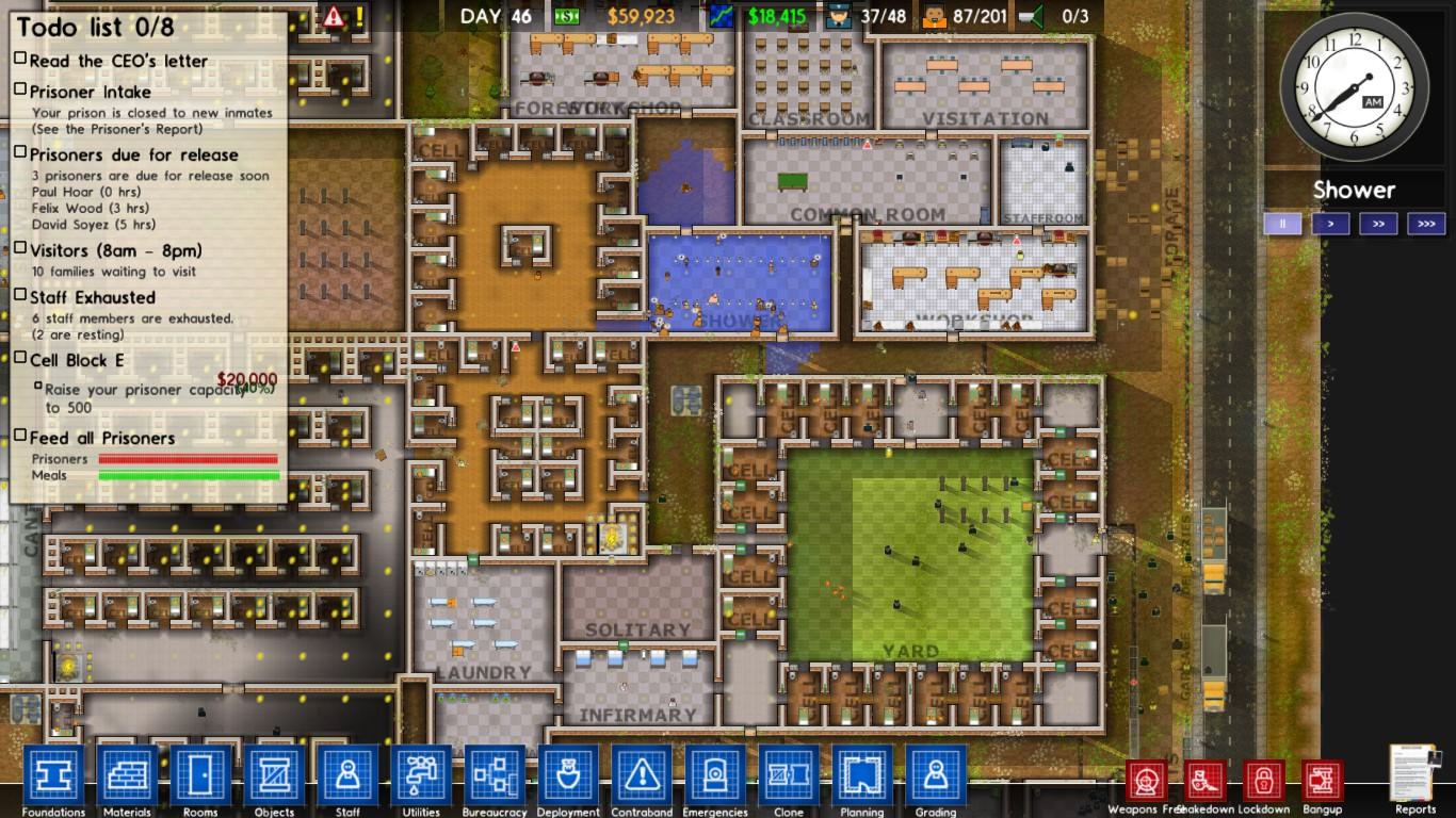 Prison architect pc alpha release nerd bacon reviews for Jail architect