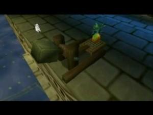 Launching pineapples at Cruella during the Big Ben boss level.  I hope SpongeBob has renters' insurance.