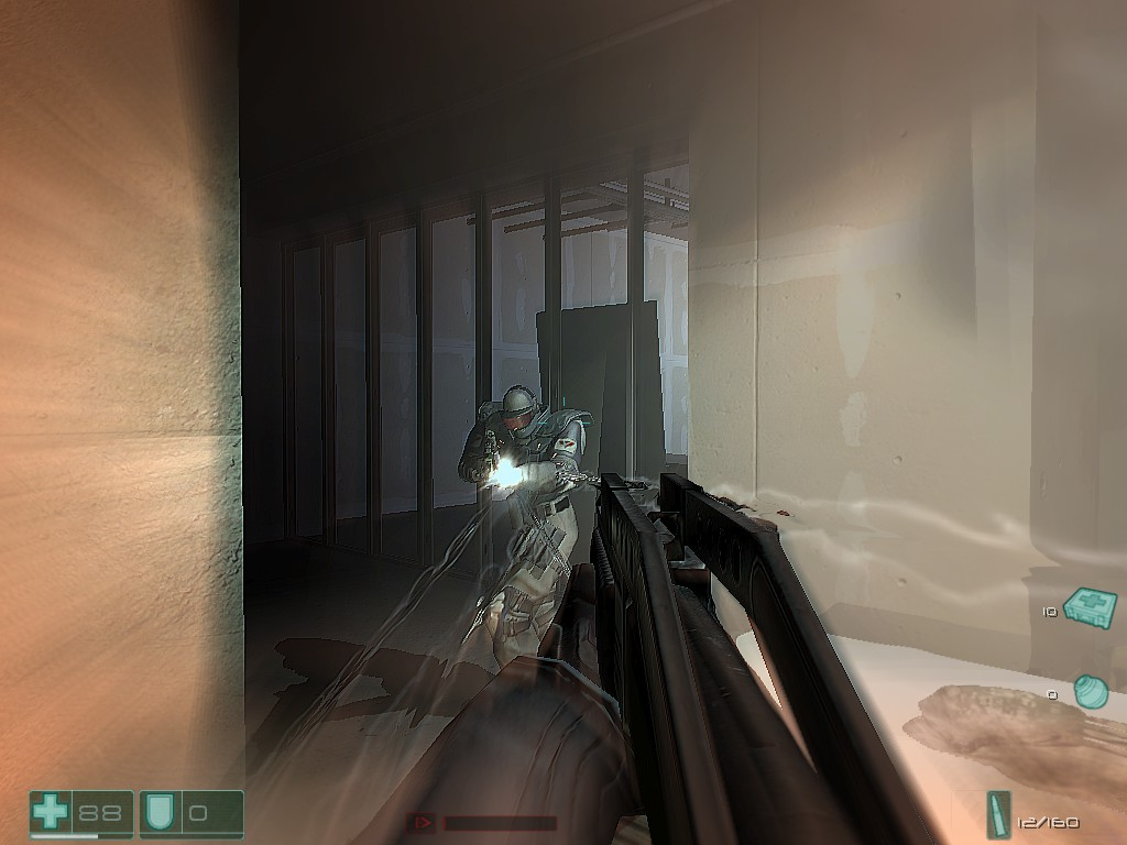 While under fire, bullet trails are able to be seen in slow motion.