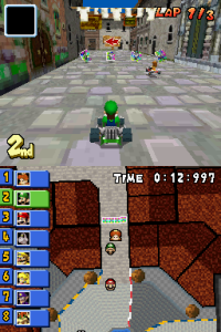 The double screen (DS) allows for the normal view as well as the map view.