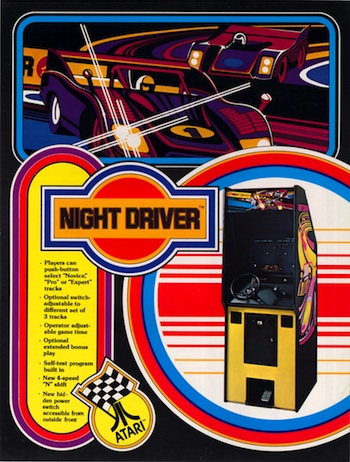 Night Driver started out as an arcade game in 1976. Unlike it's 2600 port, it was black-and-white, but featured a gear-shift and steering wheel. Sadly, no houses, trees or oncoming traffic.