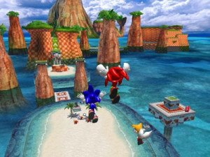 Sonic, Tails, and Knuckles as they appear in-game.