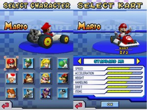 The character screen followed by the kart screen.