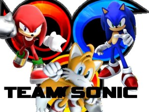 This is Team Sonic, with (from left to right) Knuckles, Tails, and Sonic.