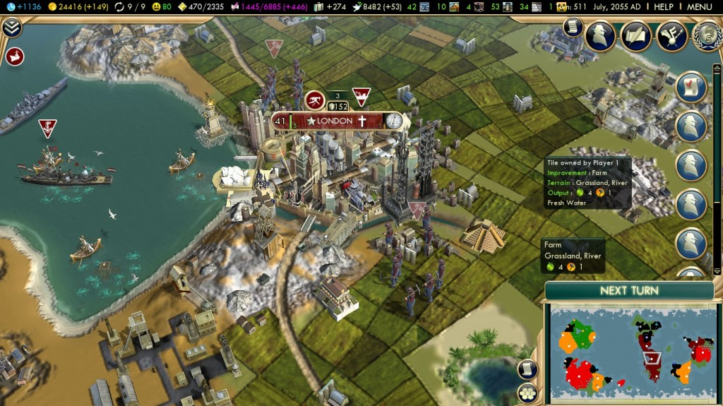 Every building you create in Civ V appears onscreen.