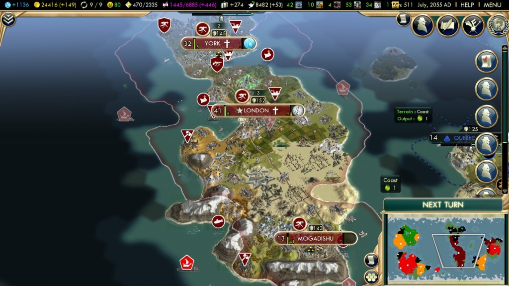 This is from my playthrough as England, close to victory.