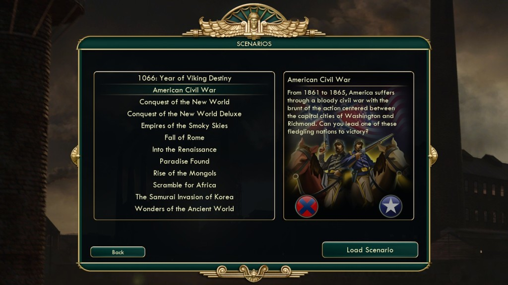 This is the complete list of scenarios, along with the description of the American Civil War