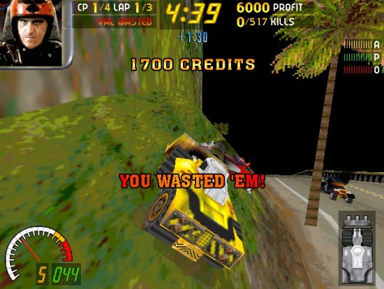 "The Plow is the second most-impressive ride you can legitimately own in Carmageddon, and one of the most intimidating. Nothing says pants-crapping fear like ""GOTCHA!"" being plastered in blood on your front scoop."