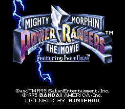 mighty morphin power rangers: the movie title screen snes