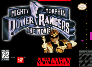 mighty morphin power rangers: the movie snes nintendo box art