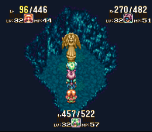 You can save your game at inns and at Mana Goddess statues. Gold statues also restore your health and mana points, if you're fortunate enough to find them.
