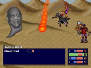 are we having a boss fight with a grayscale image of bill cosby's head what is this