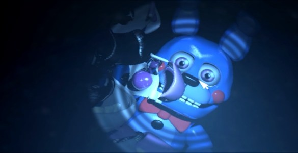 Puppet Bonnie is pretty cute, even when he's tearing out your tongue through your nose.