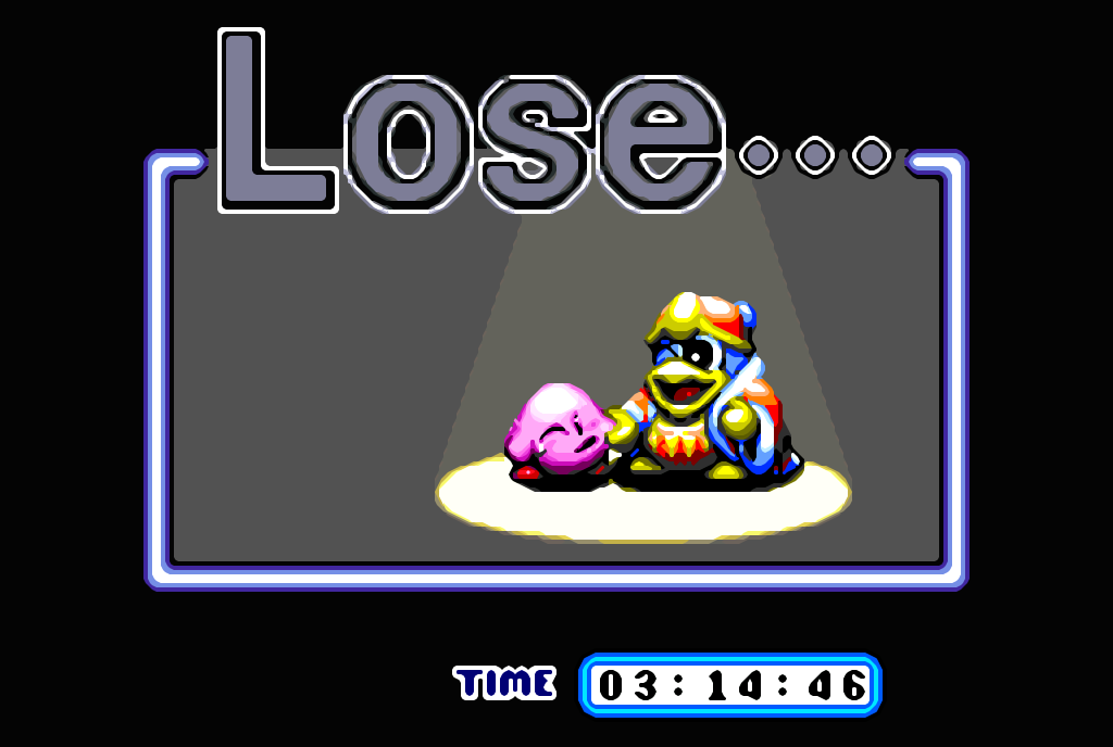 Kirby Super Star SNES Game Over Screen