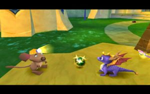 Spyro receiving an orb from one of the Gemcutters.